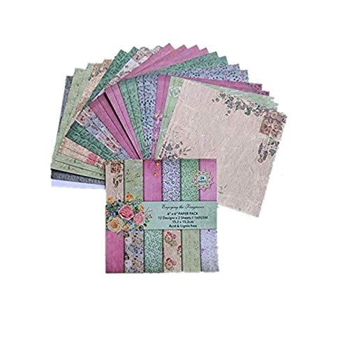 24 hojas de empaque de papel, clip art, estampado retro, artesanías de decoración de papel de bricolaje, 6 pulgadas de papel de un solo lado del patrón