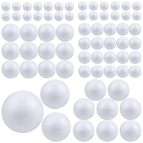 Pllieay 88 piezas 6 tamaños bolas de espuma de poliestireno blanco para manualidades, decoración de manualidades, manualidades, manualidades, manualidades, hogar, proyectos escolares