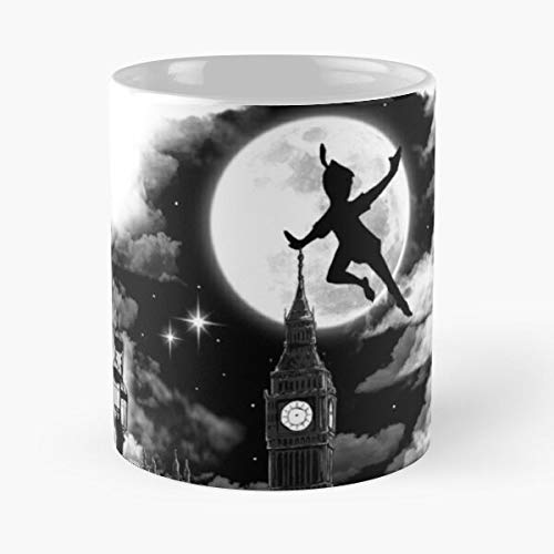 Pan Peter Quote Clouds Moon Magic Parliament Westminster - Best 11 Ounce Ceramic Mug - Classic Mug for Coffee, Tea, Chocolate or Latte