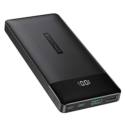 RAVPower Portable Charger 15000mAh PD3.0 Power Bank QC 3.0, 18W High-Speed Ultra Compact USB C Battery Pack Tri-Input and Tri-Output Compatible iPhone 8/11/12/XS/XR/XS, iPad, Samsung Galaxy and More