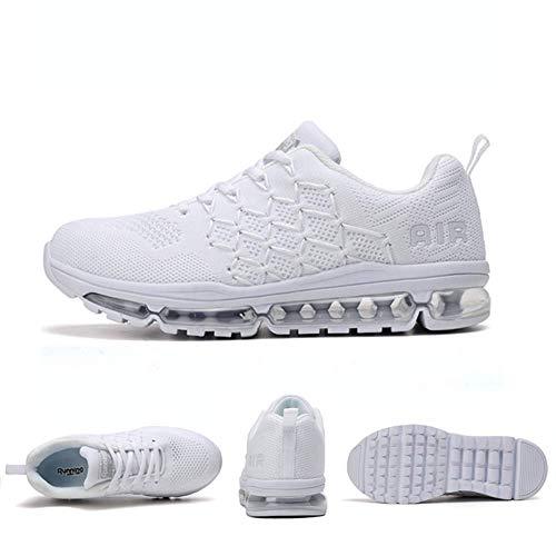 Air Zapatillas de Running para Hombre Mujer Zapatos para Correr y Asfalto Aire Libre y Deportes Calzado 1643 Unisexo White 40