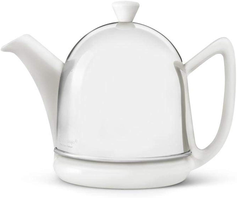 Steingut-Teekanne Cosy Manto wei mit filzisoliertem Edelstahlmantel hochglanzpoliert 0,6 ltr.