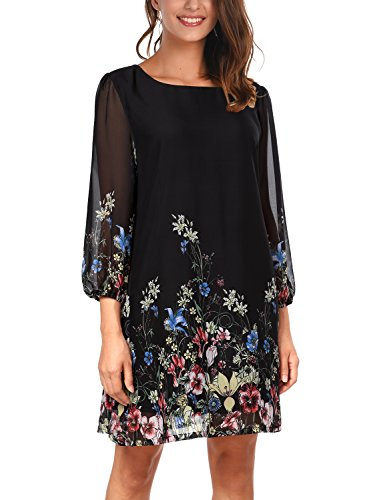 DJT Women's Floral Pattern 3/4 Sleeve Loose Fit Chiffon Tunic Dress X-Large Black Floral