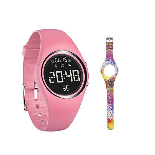 mijiaowatch Non-Bluetooth Pedometer Watch Walking Pedometer Watch Step Calories Counter with Vibration Alarm for Sports Running Kids Men Women IP68 Swim Waterproof No APP Need (Pink)