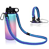 iLVANYA Paracord Handle with Shoulder Strap for Hydro Flask Wide Mouth Bottles, Paracord Strap Carrier for 12oz to 64oz Bottle,Water Bottle Accessories with Safety Ring Carabiner(Purple Blue)