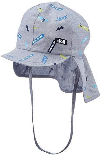 Döll Jungen Bindemütze mit Schirm und Nackenschutz Mütze, Blau (Total Eclipse|Blue 3000), (Herstellergröße: 53)