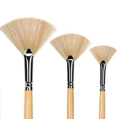 Paint Brush Set 3 pcs Artist Fan Brush Wooden Long Handle Painting Brush for Oil Paint Acrylic Paint Watercolor Paint