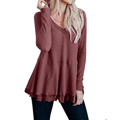 ITISME Pull Femmes Décontractée Manche Longue Col V Sexy Tunique en Tricot Gaufré Dentelle Mignonne Chemises Hauts Cute Shirts Blouse Tops Chic