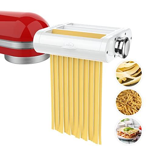 ANTREE - Juego de accesorios para hacer pasta 3 en 1 para batidoras KitchenAid, incluye rodillo de hoja de pasta, cortador de espagueti, cortador de fettuccine, accesorios y cepillo de limpieza