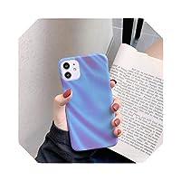 Qinineファッションキャンディーカラー電話ケースFor iPhone11 Pro Max XR XS MaxXシリコンカバーFor iPhone7 8PlusマットハードPCケース-Blue-For iPhone 7