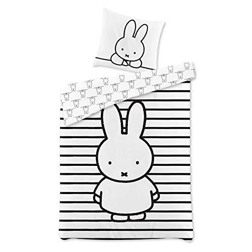 Termana Miffy Bed Linen Set 135 x 200 cm – Children's Bed Linen Miffy Rabbit Striped Black and White – Pillowcase 80 x 80 cm + Duvet Cover 135 x 200 cm – 100% Cotton