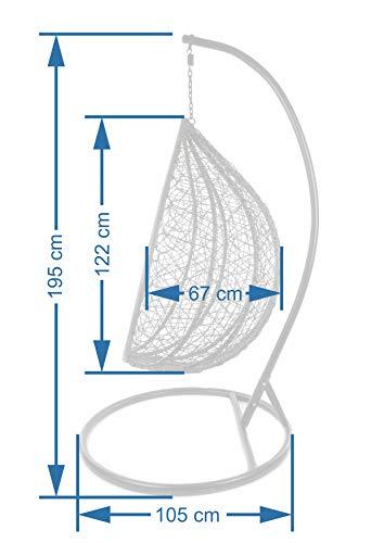 Kideo® Komplettset: großer Hängesessel mit Gestell & Kissen, Indoor & Outdoor, Poly-Rattan, XXL, grau (Kissen: weiß Nest (1000 Snow)) - 2