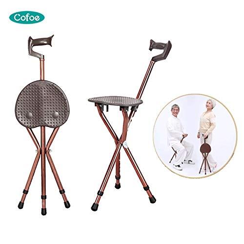 Cofoe verstelbare aluminium wandelstok met stoel vouwen kruk krukje telescopische wandelen Stick stoel 3 been zittende statief stok stok