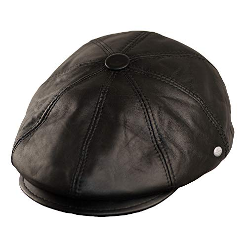 Dazoriginal Boina Cuero Casquillos Plano Gorra Piel Gatsby Sombrero Hombre Beret (Negro,...