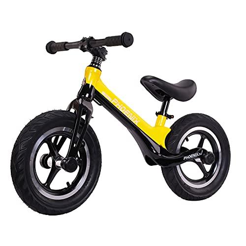 GASLIKE Bicicleta de Equilibrio para niños y niñas de 2 a 6 años, Bicicleta de Equilibrio de 12 Pulgadas, Altura Recomendada 85-125 cm, sillín Ajustable, Carga máxima 90 kg,Amarillo