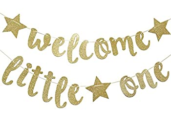 Welcome Little One Glitter Gold Banner Baby Shower Gender Reveal Party  Glitter Party Decor  Gold