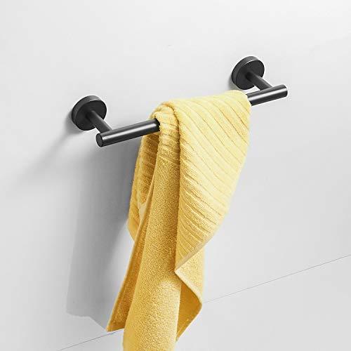 Barra de toalla Acabado en negro Acero inoxidable 30 cm Cuarto de baño Toalleros de pared Montaje en pared
