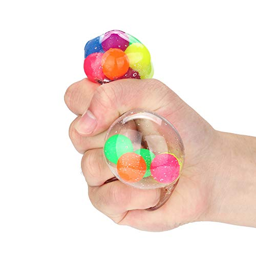 QINGELL Squeeze Ball Toy, Stress Balls for Kids Stress Relief Ball for Adults, Sensory Fidget Toy Squishy Rainbow Stress Ball with Colorful Beads Stress-Relief and Better Focus Toy