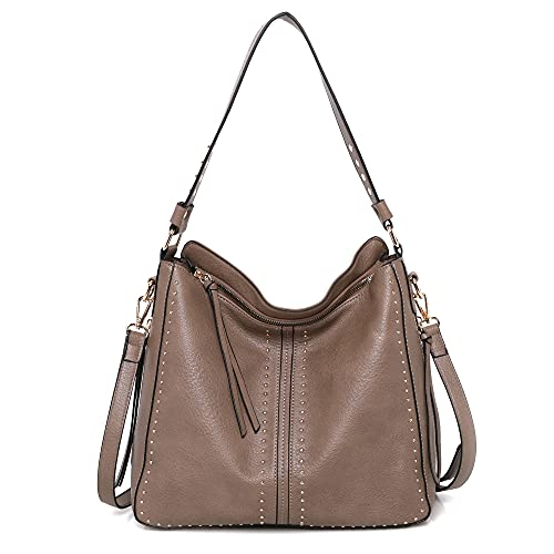 Montana West Hobo Purses Studded Ladies Large PU Leather Tote Bags With Concealed Carry Purse MWC-1001KH