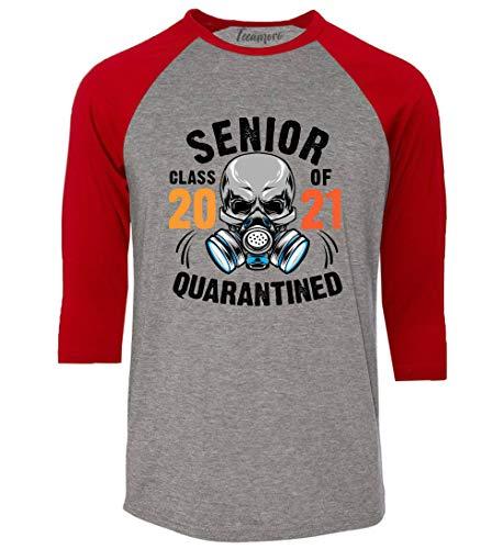 TEEAMORE Senior Class of 2021 Quarantined Raglan Sleeve Graduation Gift Women Baseball Shirt Heather Grey/Red