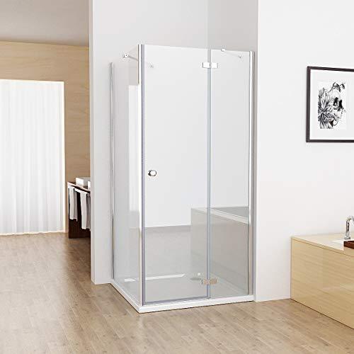 80x90x195 cm Duschkabine Eckig Nischentür Dusche 90cm Seitenwand ESG Glas