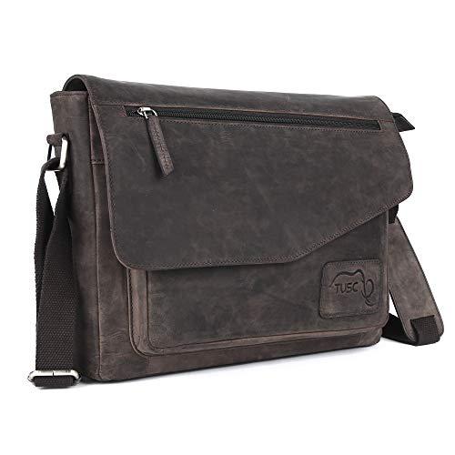 TUSC Triton bruin leren tas laptoptas 17 inch heren schoudertas aktetas schoudertas voor kantoor notebook messenger bag laptop iPad, grootte- 41x31x12 cm