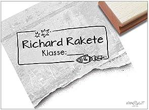 Stempel - Individueller Schulstempel Rakete Sterne - Namensstempel personalisiert Name Klasse, Geschenk für Kinder Einschulung Schule - zAcheR-fineT