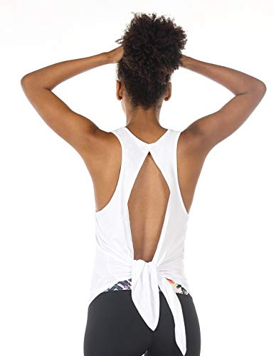 icyzone Open Back Workout Tops for Women - Athletic Activewear Shirts Exercise Yoga Tank Tops (S, White)