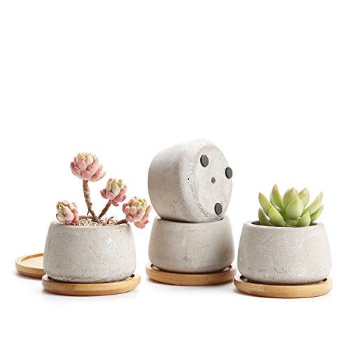T4U Cement Bloempotten, rondecement, plantenbak, cementschaalpotten, vetplanten, vetplanten, en kaarsenhouder voor bruiloft, decoratie, verjaardag