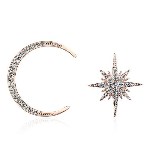 LIUBAOBEI Pendientes De Mujer Aro,Pendientes De Botón De Plata De Oro Rosa Pendientes De Cristal De Estrella De Luna De Plata Esterlina 925 Joyas para Mujer