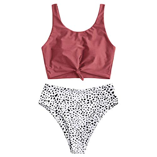 ZAFUL Women's Knotted Front Tankini Set High Waisted Bikini Scoop Neck Swimsuit Two Pieces Bathing Suit (Cherry Red&White-Dalmatian, M)