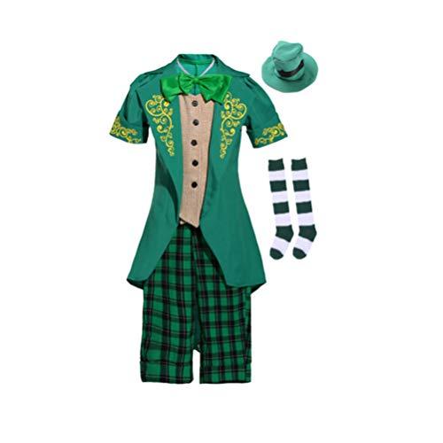 Amosfun Disfraz de Duende para Niños Juego de Fiesta Juego de Ropa Uniforme Disfraz de Duende Irlandés Disfraz de Duende Cosplay Talla L (130-140 Cm)