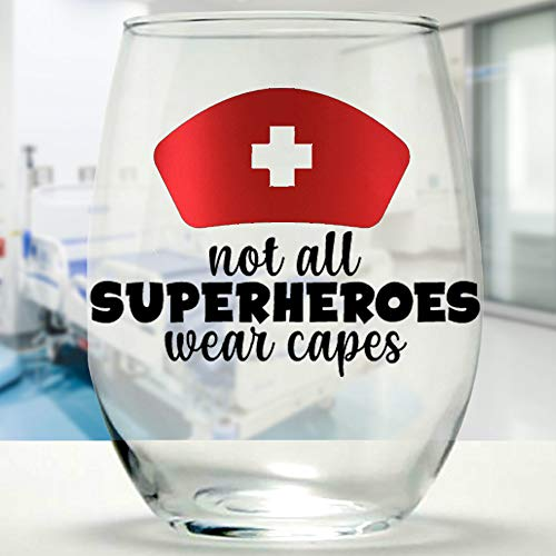 Not All Superheroes Wear Capes - Nurse, Doctor Stemless Wine Glass