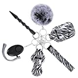Self Defense Keychains Kit for Women with Personal Safety Alarm, Kubaton Self Defense Tool, Pom Pom and Lip Balm Wirstlet (Black)