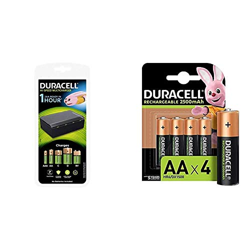 Duracell - Cargador de Pilas en 1 Hora, 1 Unidad + - Pilas Recargables AA 2500 mAh, Pack de 4, Color Verde