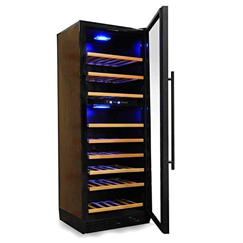 Klarstein - Cantina-armadio climatizzata per vini a 2 zone, 120 bottiglie, 270 litri, scaffali in vero legno, altezza 164 cm, illuminazione a LED