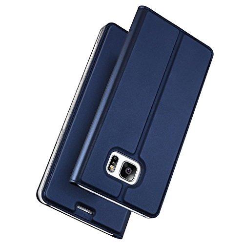 Verco Handyhülle für Galaxy S7 Edge, Premium Handy Flip Cover für Samsung Galaxy S7 Edge Hülle [integr. Magnet] Book Case PU Leder Tasche, Blau