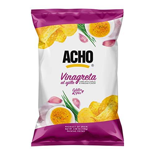 ACHO – Patatas Fritas Vinagreta al Ajillo – Chips Gourmet aptas para veganos y celíacos – Paquete de 10 x 130 gr - Total: 1300 gr