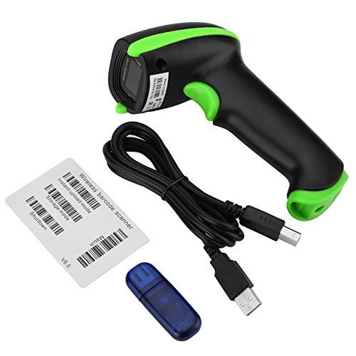 Leitor de código de barras, modos de conexão dupla Leitor de carregamento USB simples, leitor de código de barras unidimensional com suporte para vários sistemas(green)