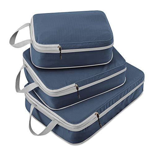 ACMETOP 旅行便利圧縮バッグ 圧縮トラベルポーチ ファスナー圧縮で衣類スペース58%節約 衣類仕分け 防水 軽量 出張 旅行 便利グッズ 大容量 3個セット (ネイビー)