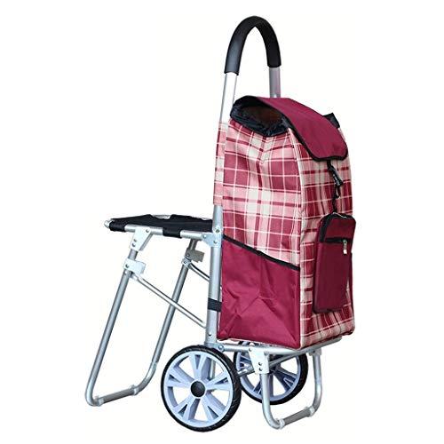 LLSS Reise-Einkaufswagen Tragbarer Wagen Ältere können Einkaufswagen nehmen Zusammenklappbarer Wagen Aluminium-Einkaufswagen mit einem Gewicht von ca. 40 kg Handwagen