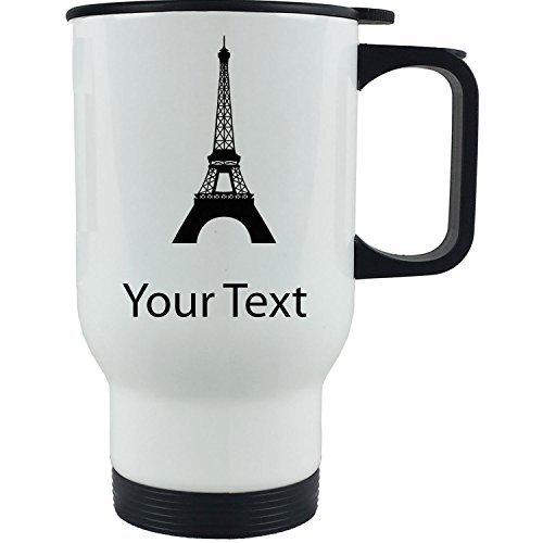 Queen54ferna Taza de viaje de café de acero inoxidable con diseño de Torre Eiffel personalizada, personalizable, de 14 onzas