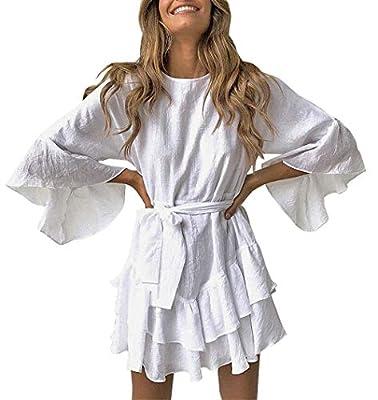 PRETTYGARDEN Women's Casual Solid ColorO-Neck 3/4 Bell Sleeve Ruffle Swing A Line Mini Dress Sundress with Belt