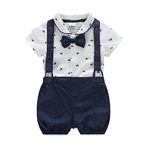 Baby Boys Gentleman Outfits Suits, Infant Short Sleeve onesies+Bib Pants+Bow Tie Clothing Sets