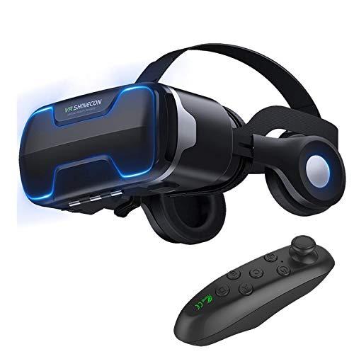 3D VR Glasses Virtual Reality Headset Goggles w/Headphones & Controller for iPhone 11 Pro XR XS X 8 7 6S 6 Plus Samsung Galaxy S10 S9 S8 S7 S6 Edge + BLU Advance 5.2 A4 Vivo Go Dash XL X8 etc, Black