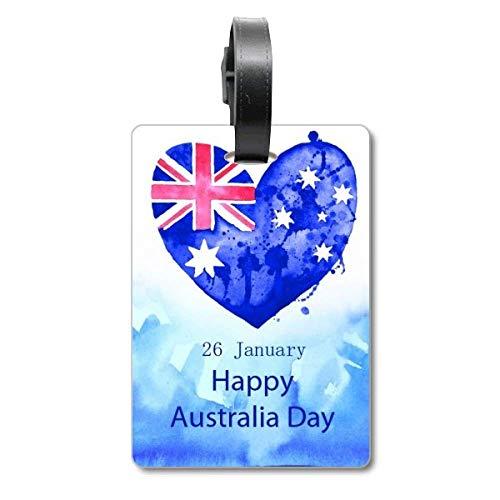 Etiqueta de identificación para Maleta con diseño de Bandera de Australia con Texto en inglés Happy Day