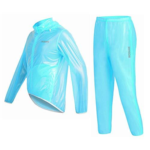 Rain Coat Mountain Bike Cycling Split Raincoat Waterproof Rainproof Skin Raincoat Men Women for Cycling Running Walking,Blue,XXL