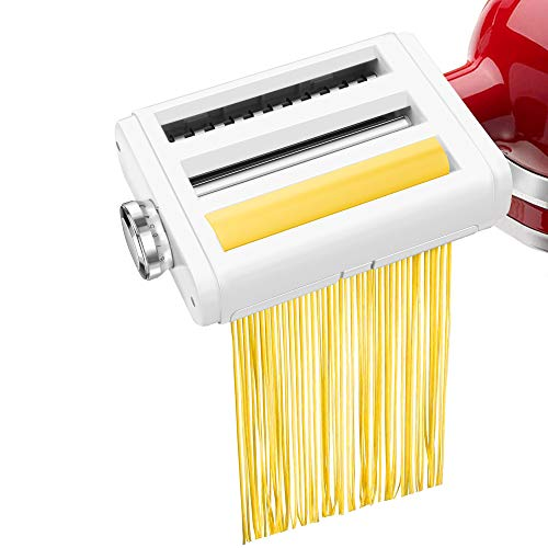 Pasta Maker Attachment for KitchenAid Stand Mixers 3 in 1 Set Includes Pasta Roller Spaghetti Cutter &Fettuccine Cutter, Durable PastaAttachmentsfor KitchenAid