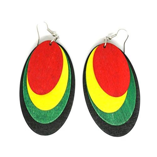 Teri's Boutique Rasta Wood Raggae Jamaicana - Orecchini pendenti da donna alla moda