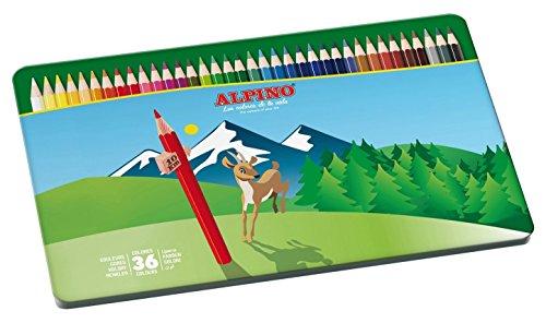 Lapices de Colores Alpino - Estuche de Lápices de Madera con 36 unidades - Lapices Profesionales para Adultos - Estuche Metálico, Forma Hexagonal, Mina Resistente 3mm, Eco Friendly, Ergonomico